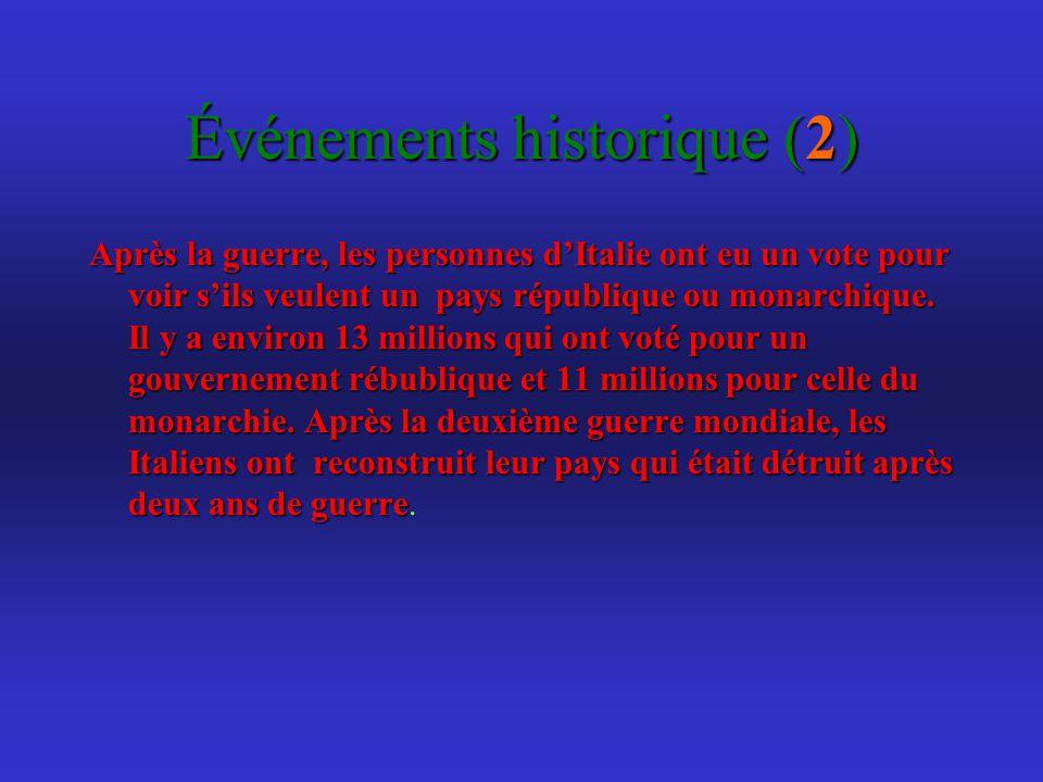 Événements historique (2) Après la guerre, les personnes dItalie ont eu un vote pour voir sils veulent un pays république ou monarchique.