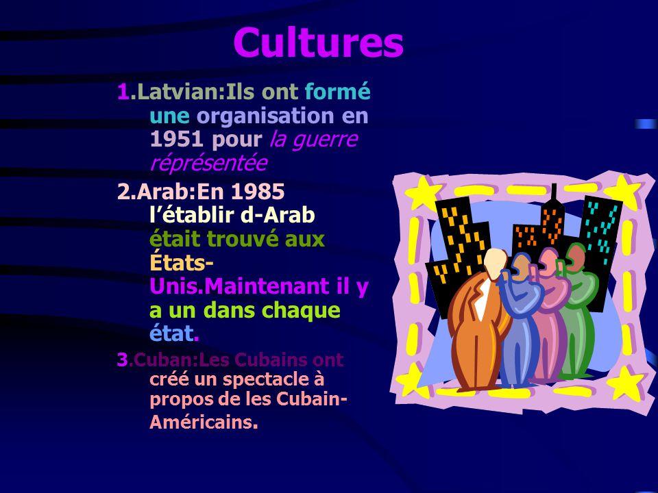 Cultures 1.Latvian:Ils ont formé une organisation en 1951 pour la guerre réprésentée 2.Arab:En 1985 létablir d-Arab était trouvé aux États- Unis.Maintenant il y a un dans chaque état.