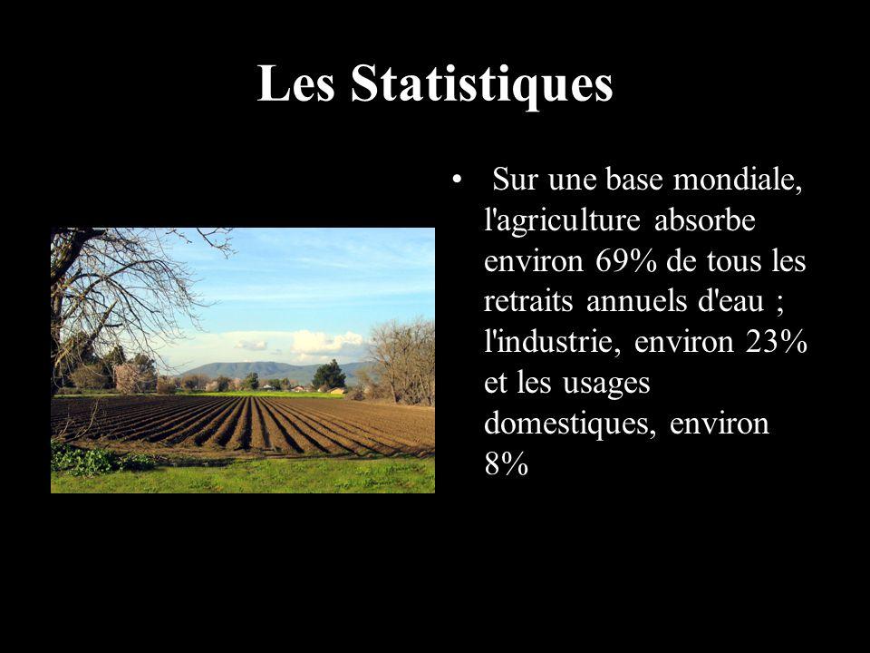 Les Statistiques Sur une base mondiale, l'agriculture absorbe environ 69% de tous les retraits annuels d'eau ; l'industrie, environ 23% et les usages