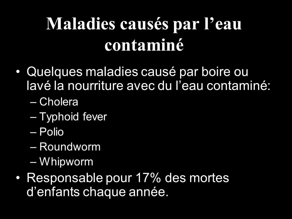 Maladies causés par leau contaminé Quelques maladies causé par boire ou lavé la nourriture avec du leau contaminé: –Cholera –Typhoid fever –Polio –Rou