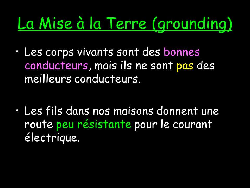 La Mise à la Terre (grounding) Les électrons vont toujours « choisir » la route qui leur donne la moins de résistance (plus facile). Ex: sil y avait u