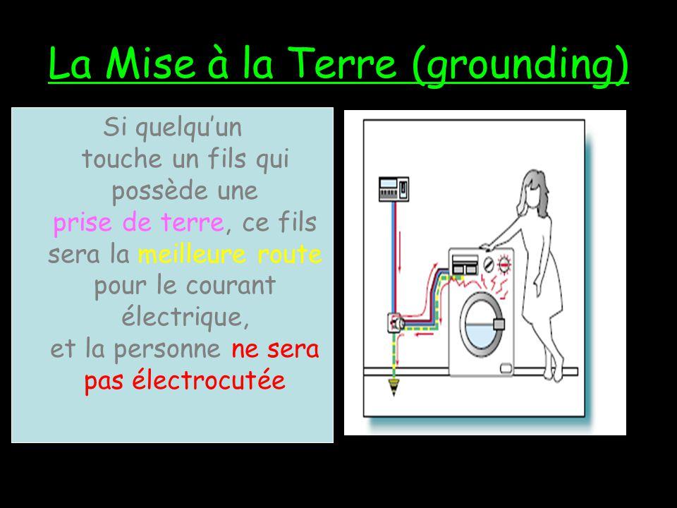 Si quelquun touche un fils qui ne possède pas une prise de terre (grounding wire), leur corps sera la meilleure route pour le courant électrique, et l