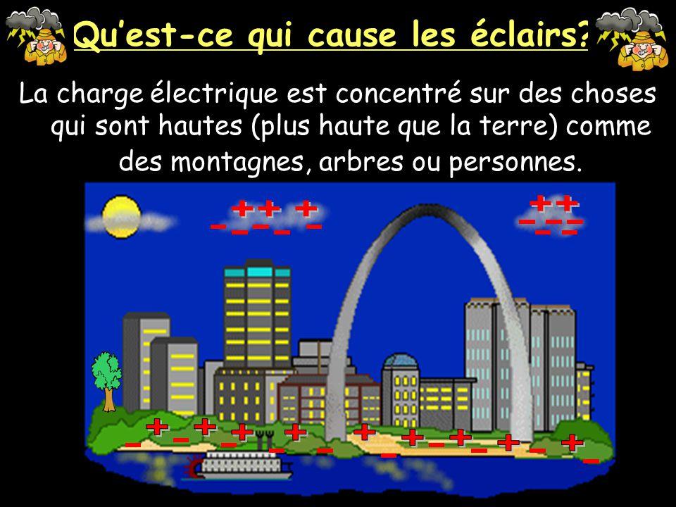 Quest-ce qui cause les éclairs? Les charges contraires s'attirent, alors les protons (positives) salignent sur le terre sous la nuage.