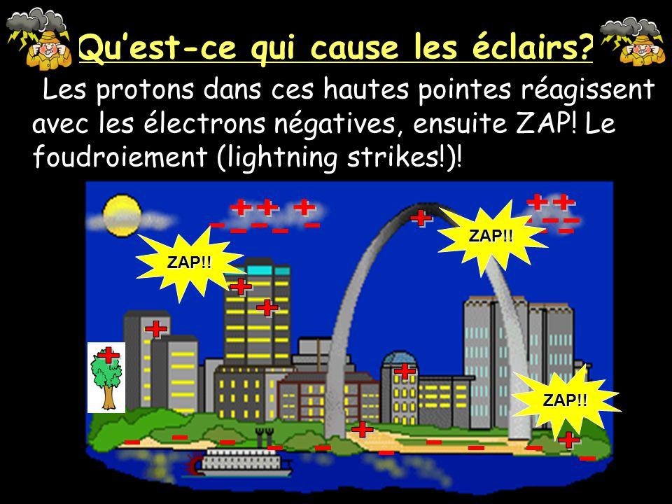 Quest-ce qui cause les éclairs? La charge électrique est concentré sur des choses qui sont hautes (plus haute que la terre) comme des montagnes, arbre