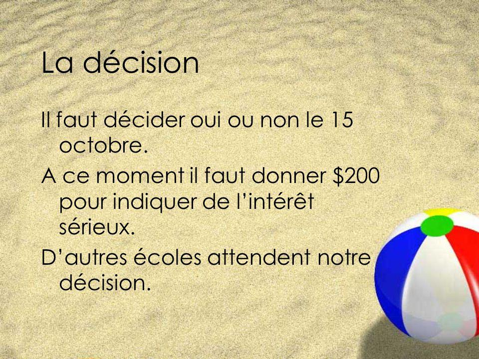 La décision Il faut décider oui ou non le 15 octobre.