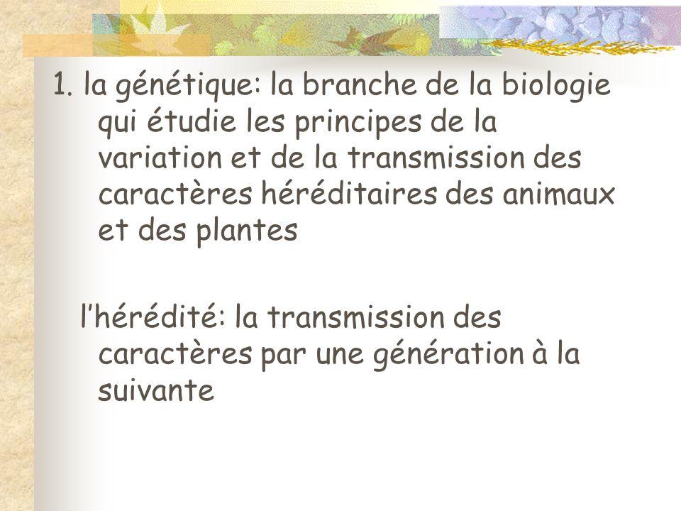 1. la génétique: la branche de la biologie qui étudie les principes de la variation et de la transmission des caractères héréditaires des animaux et d
