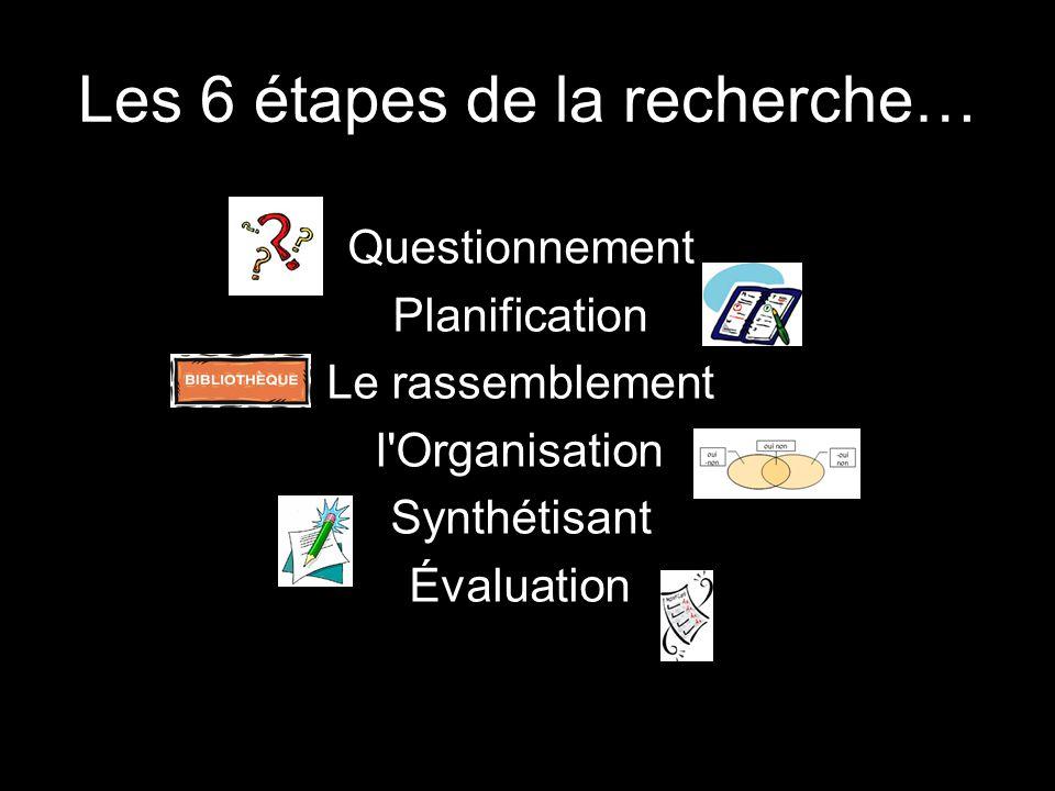 Les 6 étapes de la recherche… Questionnement Planification Le rassemblement l'Organisation Synthétisant Évaluation