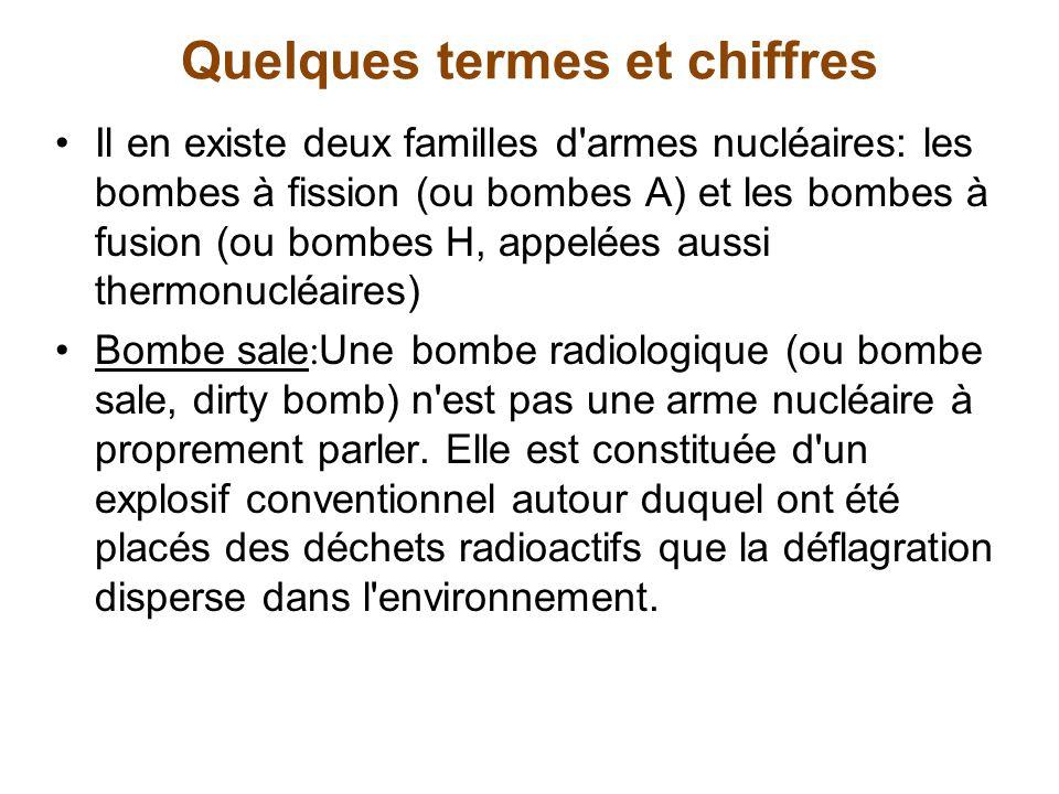 Quelques termes et chiffres Nombre de têtes nucléaires selon les pays États-Unis : 10 640 (7 650 têtes actives (environ 3 000 en réserve ou en attente d assemblage) ; Russie : 8 200 têtes actives (environ 10 000 en réserve) Chine : 400 France: 350 Royaume-Uni : 200 Inde : 60-90 Pakistan : 24-48 Israël: 100-200 Corée du Nord : 1-6 Le Canada: 0 Source : Armement et désarmement nucléaires, La documentation française.