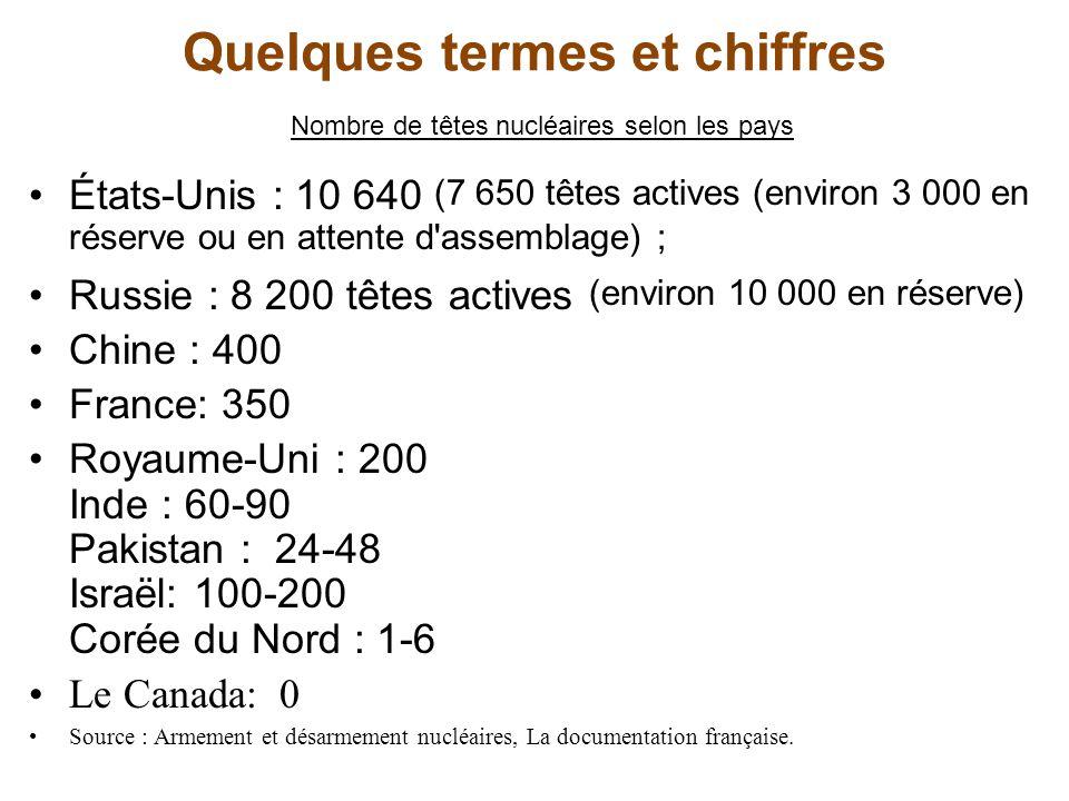 Quelques termes et chiffres Nombre de têtes nucléaires selon les pays États-Unis : 10 640 (7 650 têtes actives (environ 3 000 en réserve ou en attente