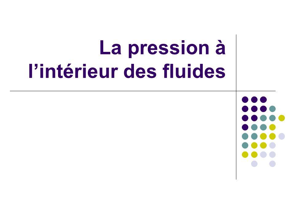 La pression à lintérieur des fluides