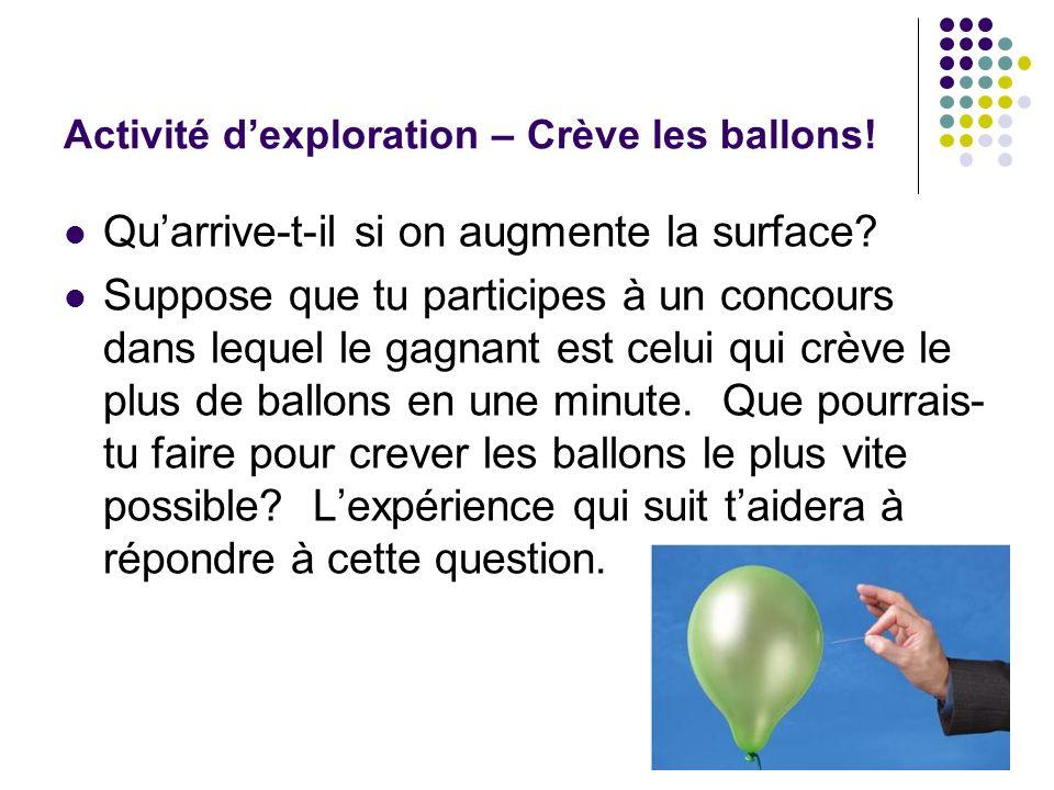 Activité dexploration – Crève les ballons.Quarrive-t-il si on augmente la surface.