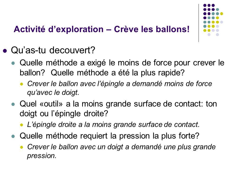 Activité dexploration – Crève les ballons.Quas-tu decouvert.