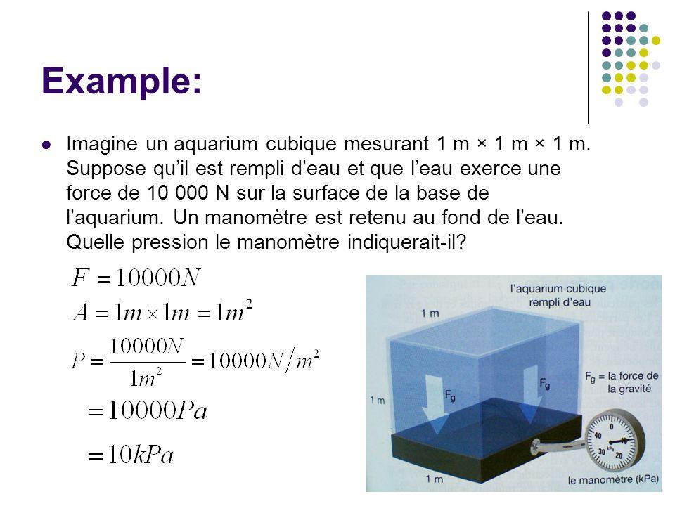Example: Imagine un aquarium cubique mesurant 1 m × 1 m × 1 m.