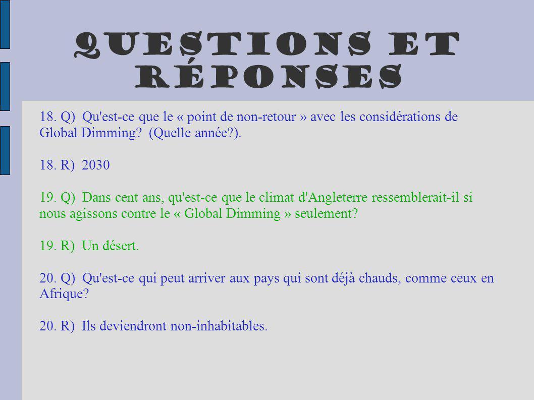 Questions et réponses 18. Q) Qu'est-ce que le « point de non-retour » avec les considérations de Global Dimming? (Quelle année?). 18. R) 2030 19. Q) D