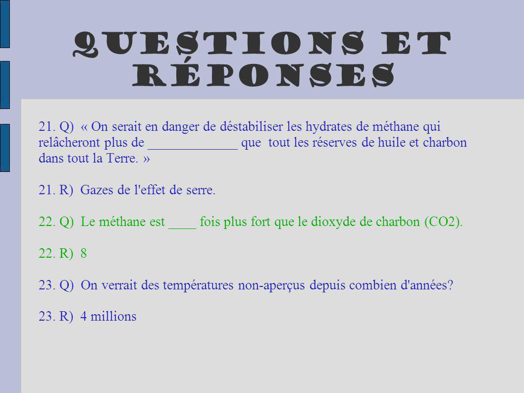 Questions et réponses 21. Q) « On serait en danger de déstabiliser les hydrates de méthane qui relâcheront plus de _____________ que tout les réserves