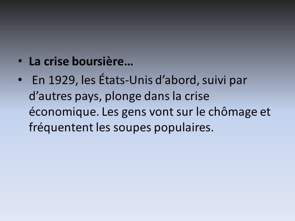 La crise boursière… En 1929, les États-Unis dabord, suivi par dautres pays, plonge dans la crise économique.