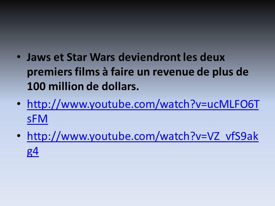 Jaws et Star Wars deviendront les deux premiers films à faire un revenue de plus de 100 million de dollars. http://www.youtube.com/watch?v=ucMLFO6T sF