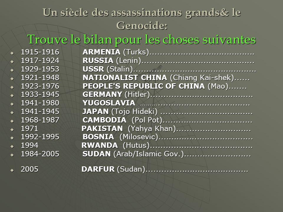 Un siècle des assassinations grands& le Genocide: Trouve le bilan pour les choses suivantes 1915-1916 ARMENIA (Turks).........................................