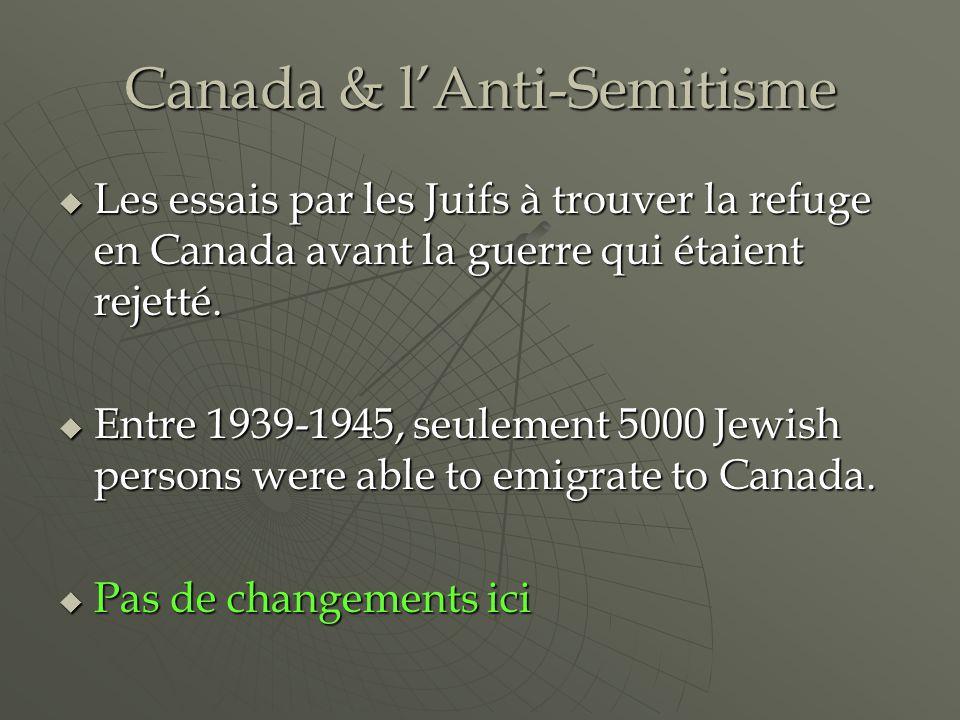 Canada & lAnti-Semitisme Les essais par les Juifs à trouver la refuge en Canada avant la guerre qui étaient rejetté.