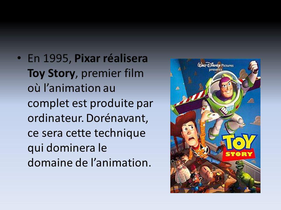 En 1995, Pixar réalisera Toy Story, premier film où lanimation au complet est produite par ordinateur. Dorénavant, ce sera cette technique qui dominer
