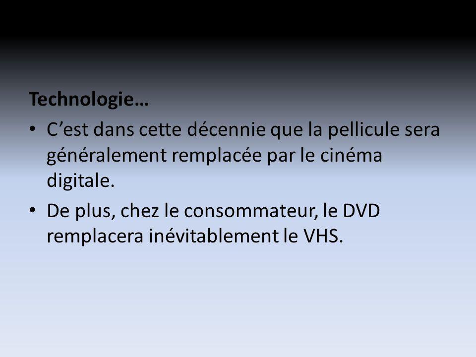 Technologie… Cest dans cette décennie que la pellicule sera généralement remplacée par le cinéma digitale. De plus, chez le consommateur, le DVD rempl