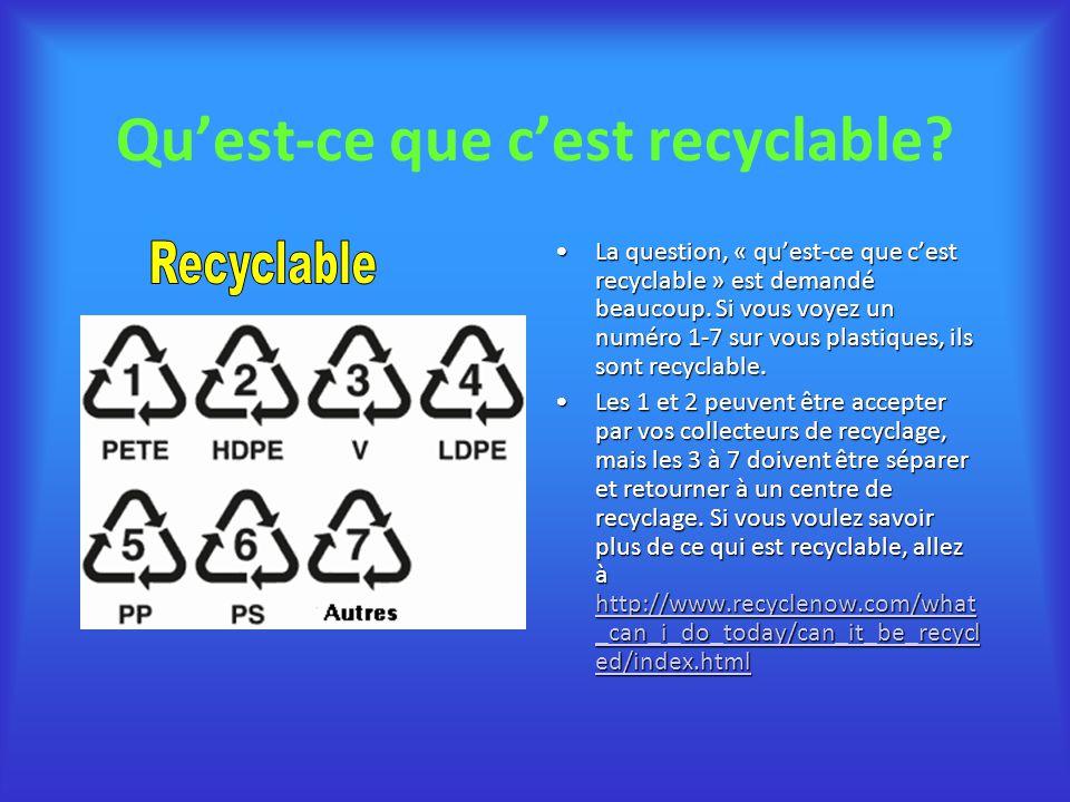 Quest-ce que cest recyclable? La question, « quest-ce que cest recyclable » est demandé beaucoup. Si vous voyez un numéro 1-7 sur vous plastiques, ils
