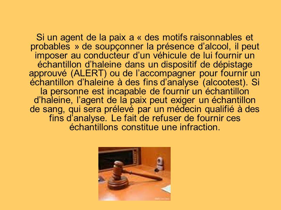 Si un agent de la paix a « des motifs raisonnables et probables » de soupçonner la présence dalcool, il peut imposer au conducteur dun véhicule de lui