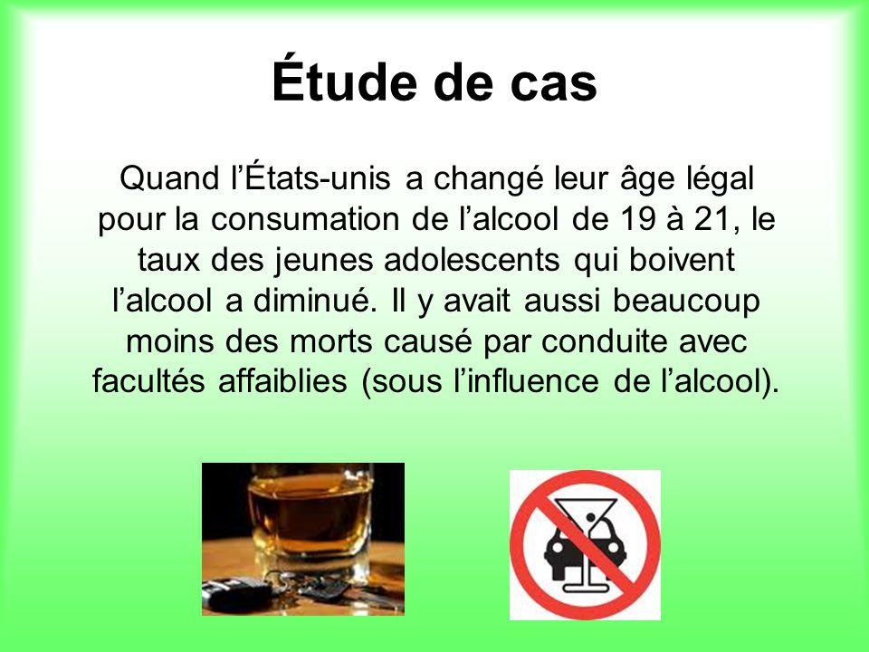 Étude de cas Quand lÉtats-unis a changé leur âge légal pour la consumation de lalcool de 19 à 21, le taux des jeunes adolescents qui boivent lalcool a diminué.
