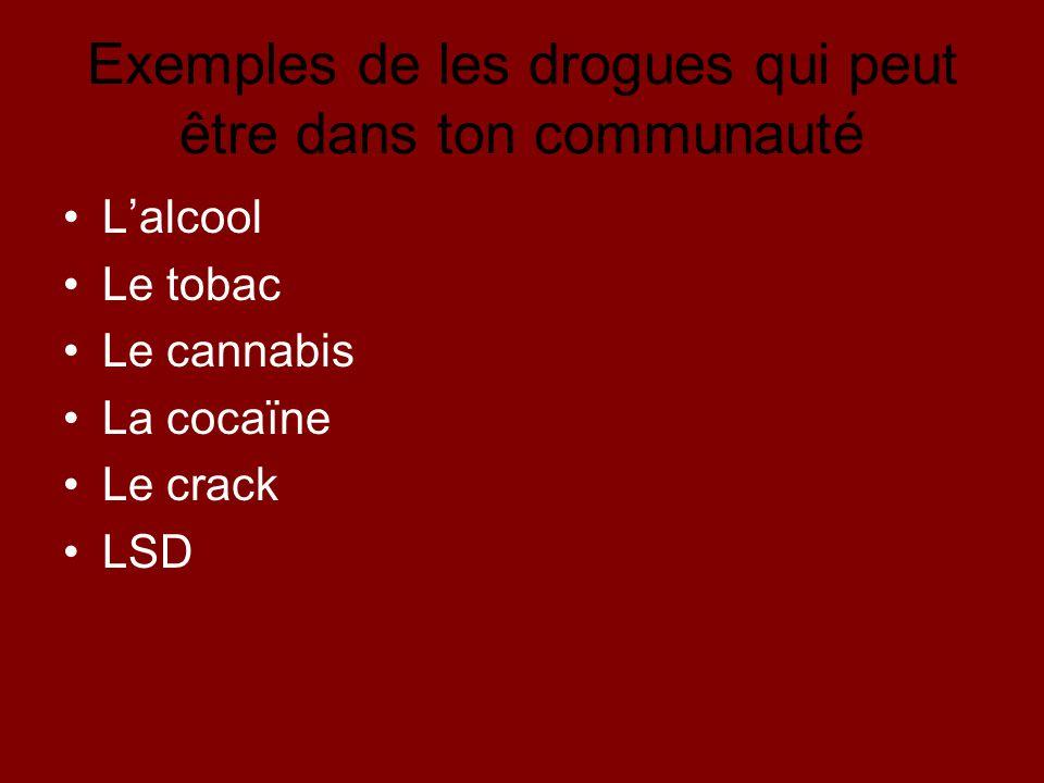 Exemples de les drogues qui peut être dans ton communauté Lalcool Le tobac Le cannabis La cocaïne Le crack LSD