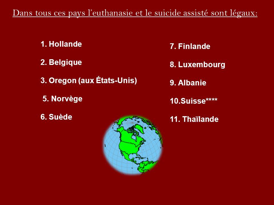 Dans tous ces pays leuthanasie et le suicide assisté sont légaux: 1. Hollande 2. Belgique 3. Oregon (aux États-Unis) 5. Norvège 6. Suède 7. Finlande 8