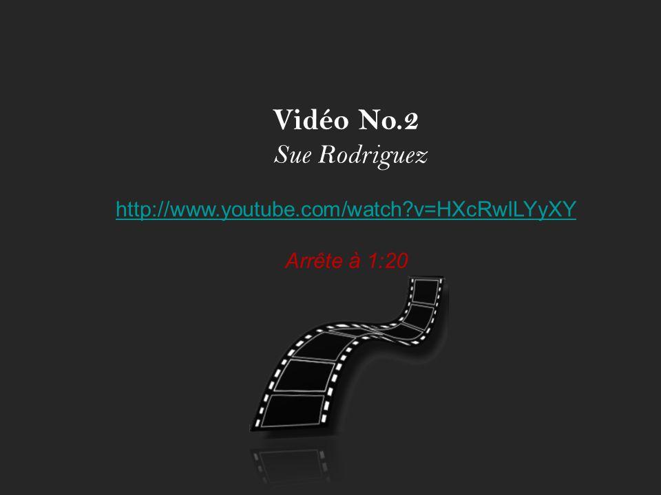 Vidéo No.2 Sue Rodriguez http://www.youtube.com/watch?v=HXcRwILYyXY Arrête à 1:20