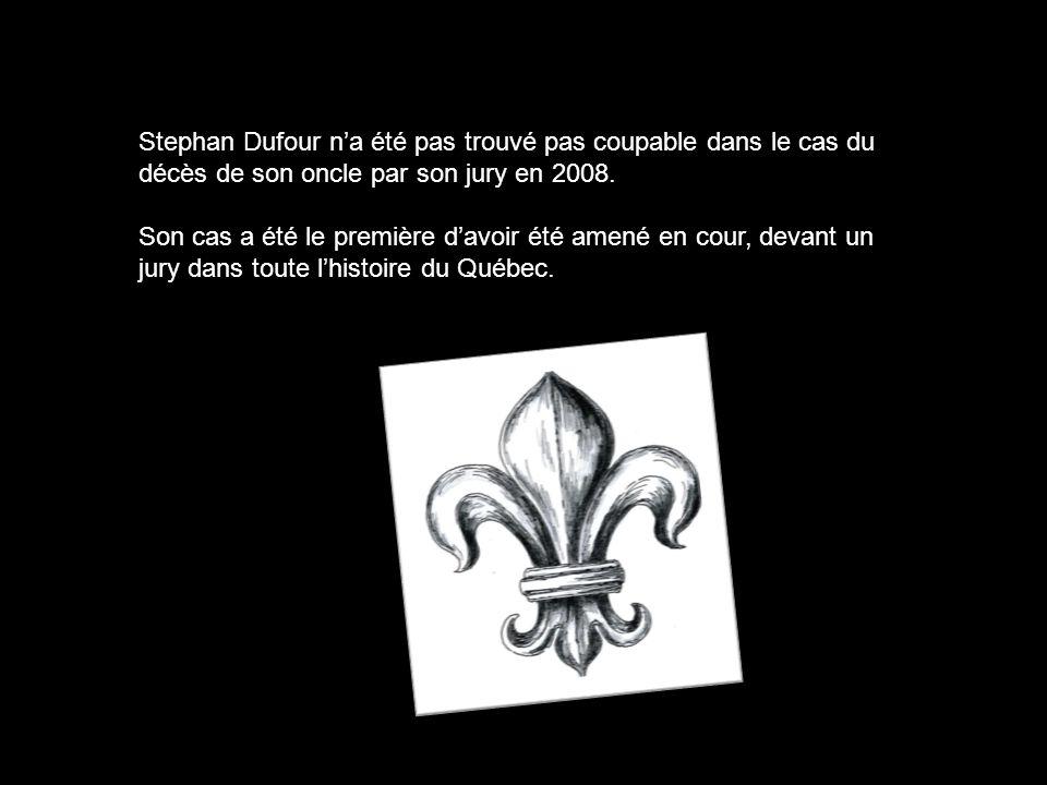 Stephan Dufour na été pas trouvé pas coupable dans le cas du décès de son oncle par son jury en 2008. Son cas a été le première davoir été amené en co