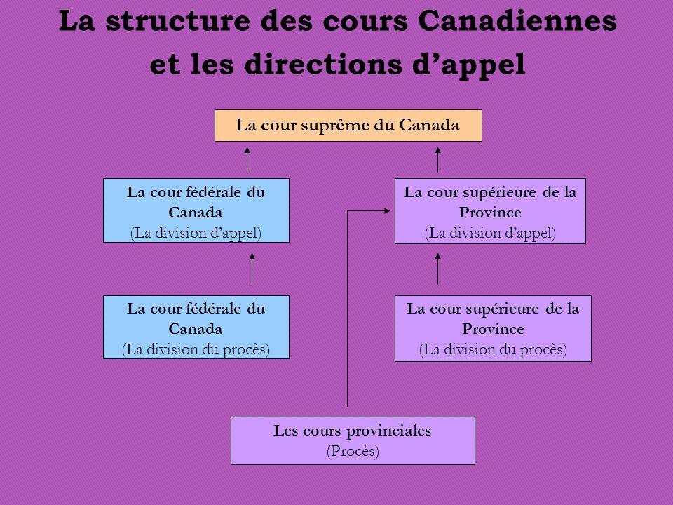 La structure des cours Canadiennes et les directions dappel La cour suprême du Canada La cour fédérale du Canada (La division dappel) La cour fédérale du Canada (La division du procès) La cour supérieure de la Province (La division dappel) La cour supérieure de la Province (La division du procès) Les cours provinciales (Procès)