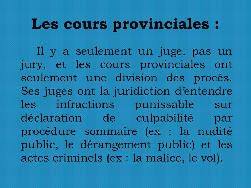 Les cours provinciales : Il y a seulement un juge, pas un jury, et les cours provinciales ont seulement une division des procès. Ses juges ont la juri