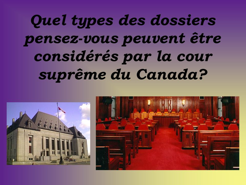 Quel types des dossiers pensez-vous peuvent être considérés par la cour suprême du Canada?