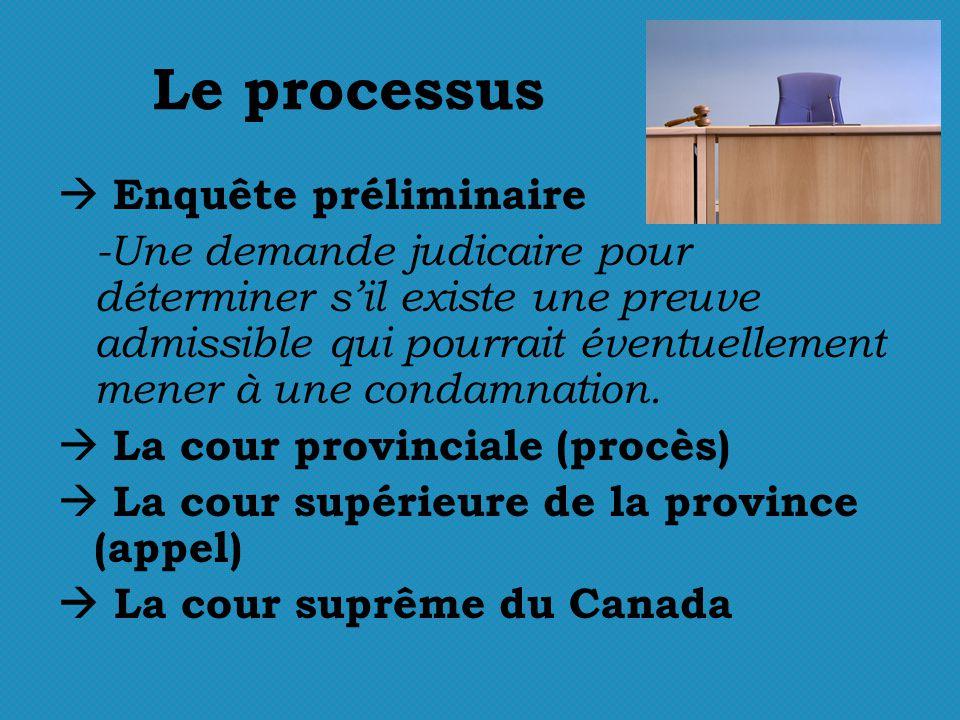 Le processus Enquête préliminaire -Une demande judicaire pour déterminer sil existe une preuve admissible qui pourrait éventuellement mener à une condamnation.