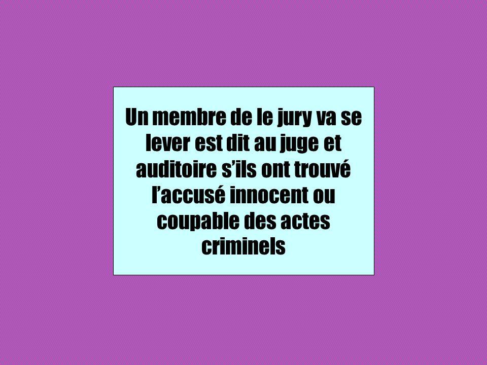 Un membre de le jury va se lever est dit au juge et auditoire sils ont trouvé laccusé innocent ou coupable des actes criminels