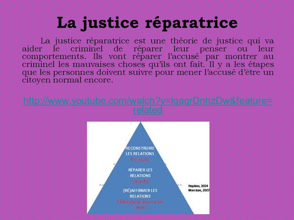 La justice réparatrice La justice réparatrice est une théorie de justice qui va aider le criminel de réparer leur penser ou leur comportements.