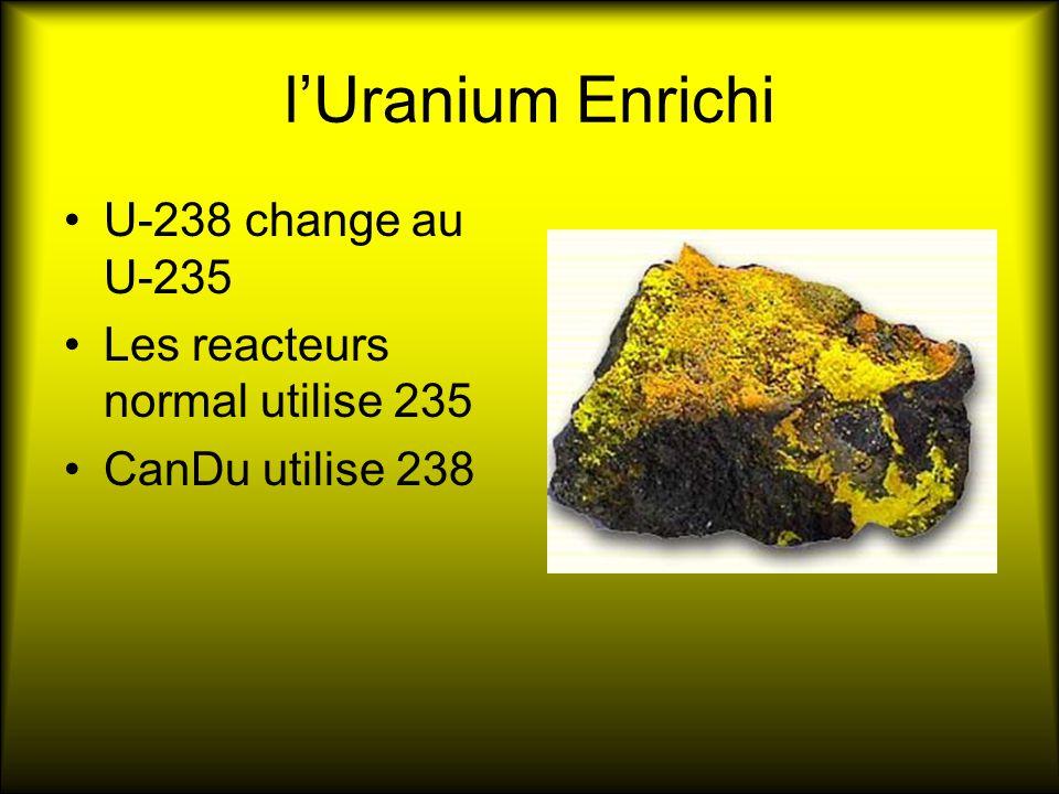 lUranium Enrichi U-238 change au U-235 Les reacteurs normal utilise 235 CanDu utilise 238