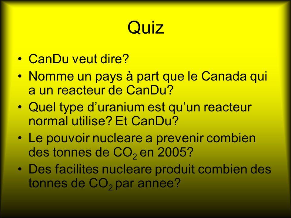 Quiz CanDu veut dire.Nomme un pays à part que le Canada qui a un reacteur de CanDu.