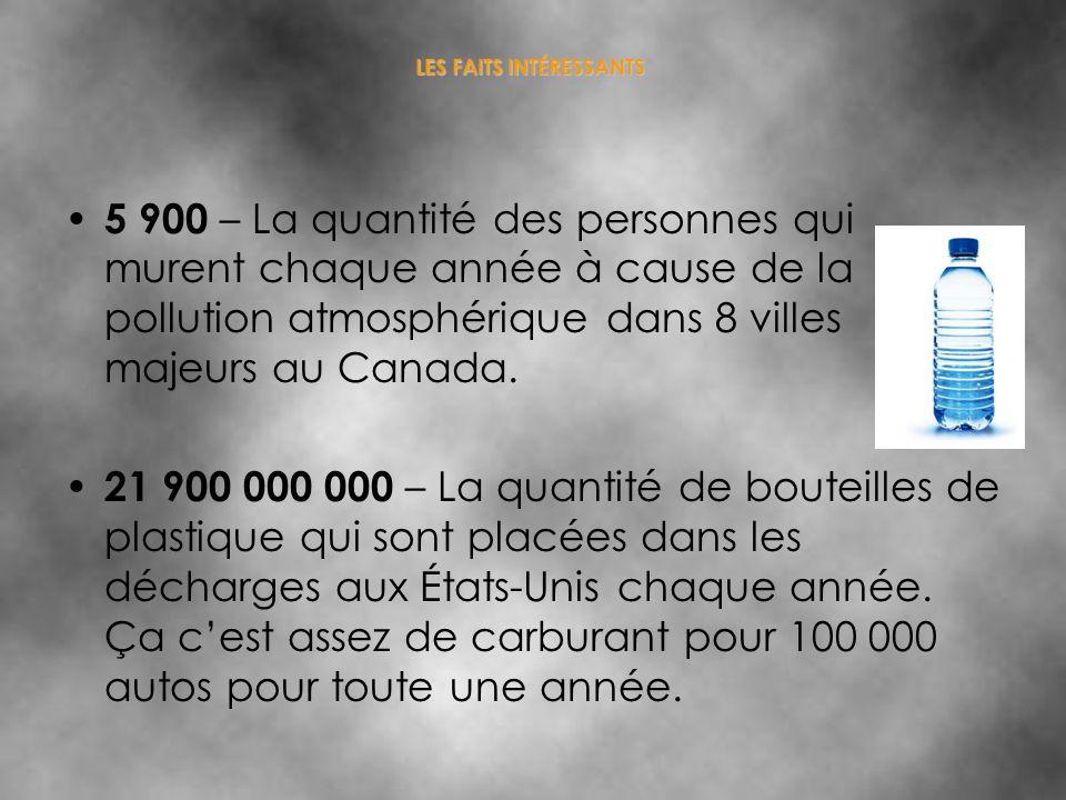 5 900 – La quantité des personnes qui murent chaque année à cause de la pollution atmosphérique dans 8 villes majeurs au Canada. 21 900 000 000 – La q