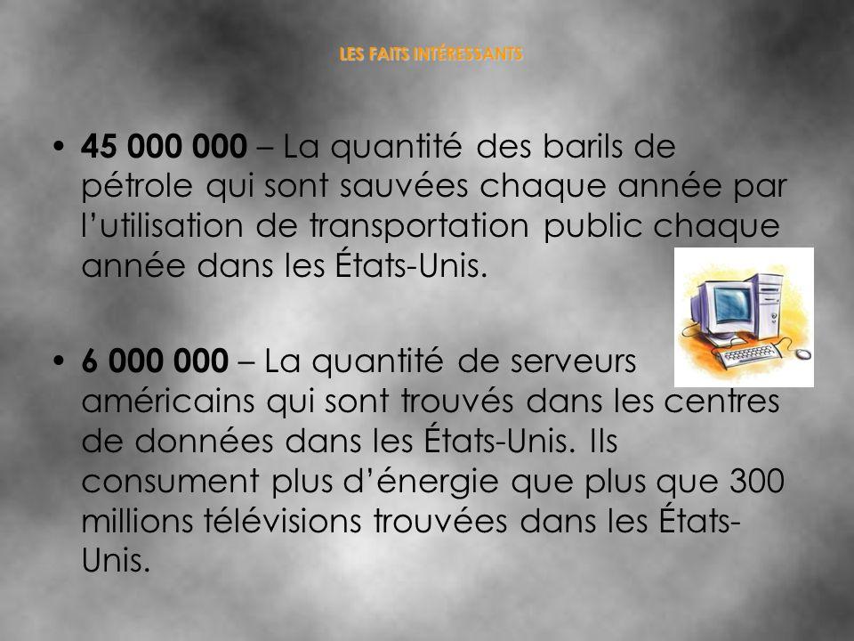 LES FAITS INTÉRESSANTS 45 000 000 – La quantité des barils de pétrole qui sont sauvées chaque année par lutilisation de transportation public chaque a