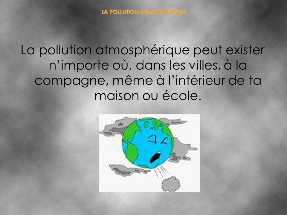 LA POLLUTION ATMOSPHÉRIQUE La pollution atmosphérique peut exister nimporte où, dans les villes, à la compagne, même à lintérieur de ta maison ou écol