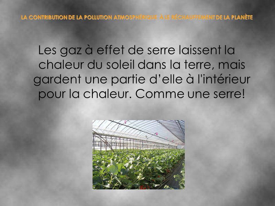 LA CONTRIBUTION DE LA POLLUTION ATMOSPHÉRIQUE À LE RÉCHAUFFEMENT DE LA PLANÈTE Les gaz à effet de serre laissent la chaleur du soleil dans la terre, m