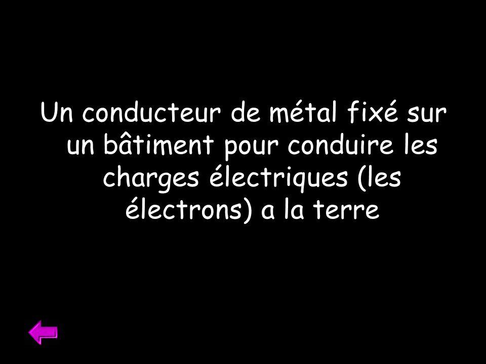 Un conducteur de métal fixé sur un bâtiment pour conduire les charges électriques (les électrons) a la terre