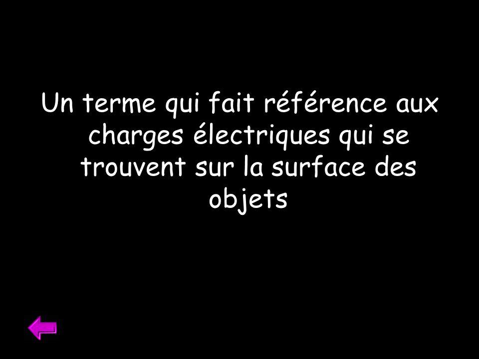 Un terme qui fait référence aux charges électriques qui se trouvent sur la surface des objets
