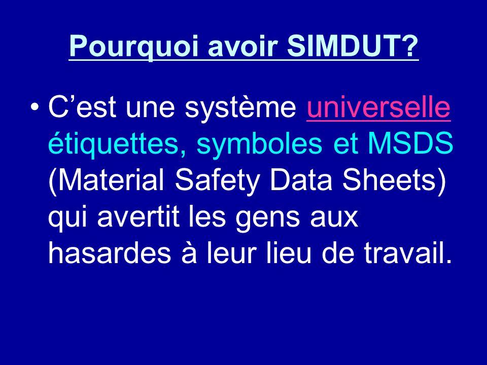 Pourquoi avoir SIMDUT? Cest une système universelle étiquettes, symboles et MSDS (Material Safety Data Sheets) qui avertit les gens aux hasardes à leu