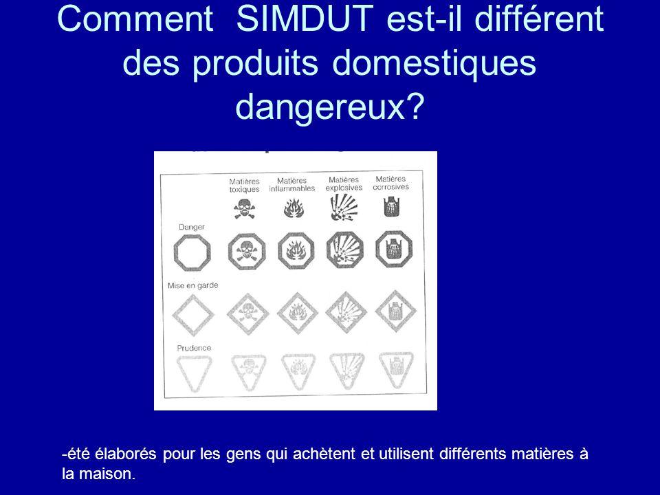 Comment SIMDUT est-il différent des produits domestiques dangereux? -été élaborés pour les gens qui achètent et utilisent différents matières à la mai