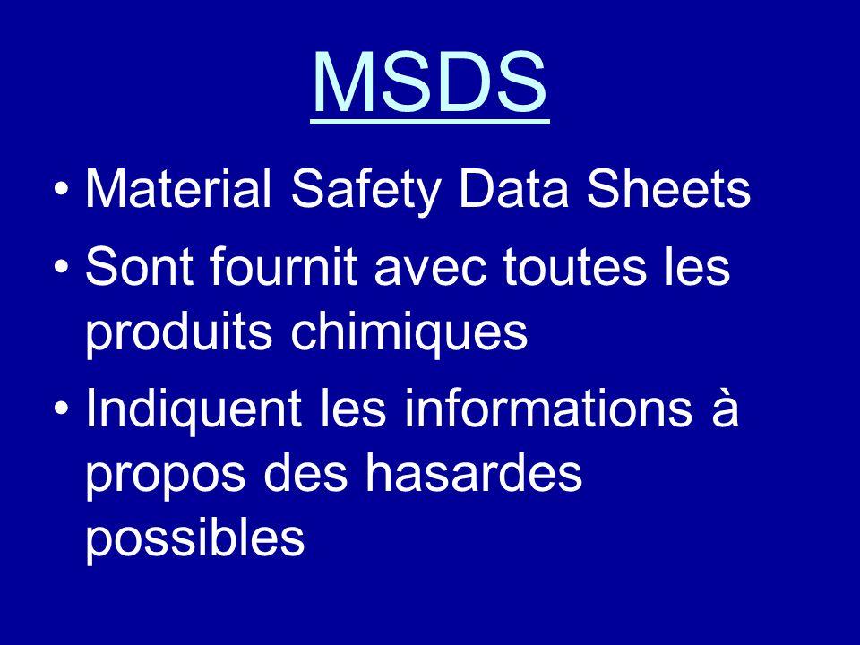 MSDS Material Safety Data Sheets Sont fournit avec toutes les produits chimiques Indiquent les informations à propos des hasardes possibles