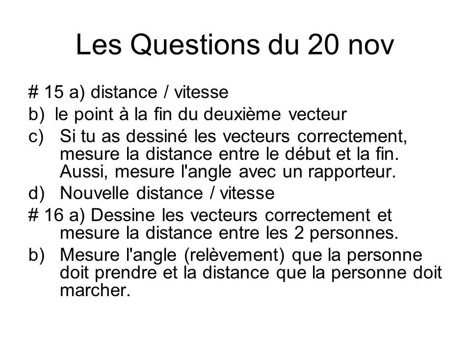 Les Questions du 20 nov # 15 a) distance / vitesse b) le point à la fin du deuxième vecteur c)Si tu as dessiné les vecteurs correctement, mesure la distance entre le début et la fin.